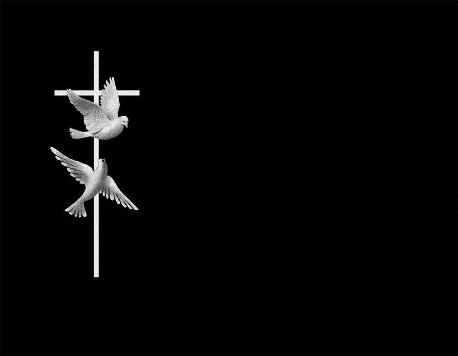 Cruz con palomas láser