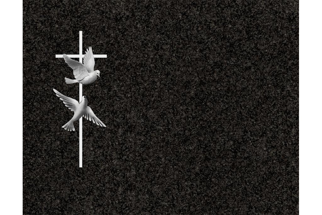 Cruz con palomas porcelánico blanco y negro