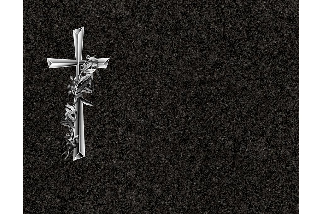 Cruz con ramo de olivos porcelánico blanco y negro