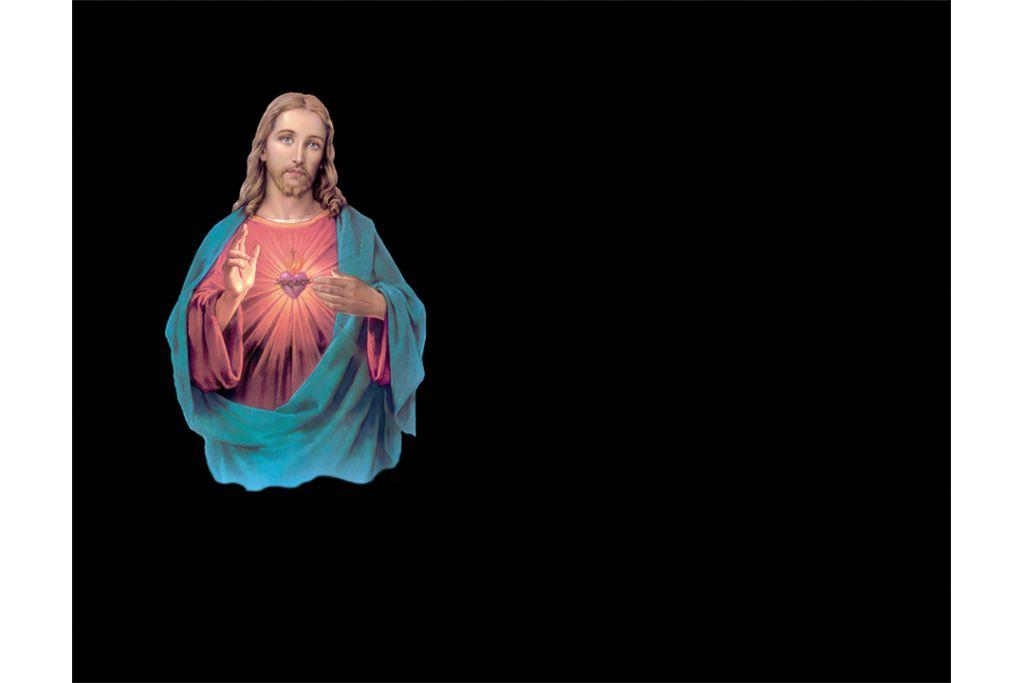 Corazón de Jesús en porcelánico color incrustado