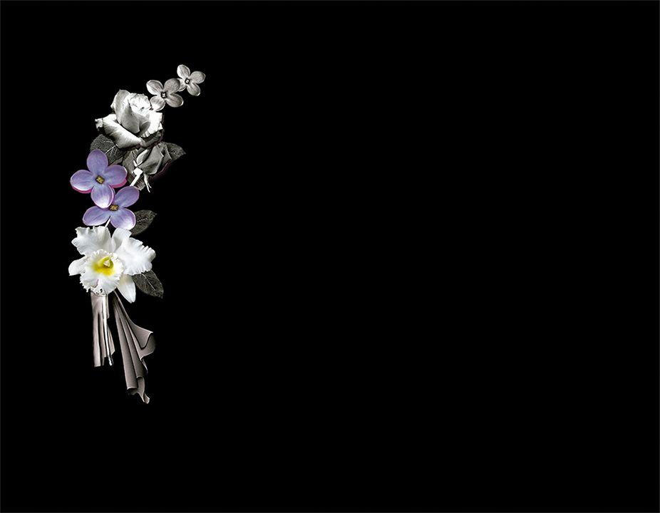 Ramillete de flores en láser con porcelánico color incrustado