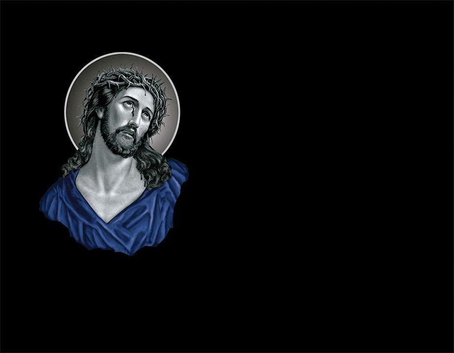 Cristo en láser con porcelánico color incrustado
