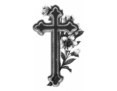 Cruz Con Flores Porcelanico Blanco Y Negro De Piedra Plasmar La