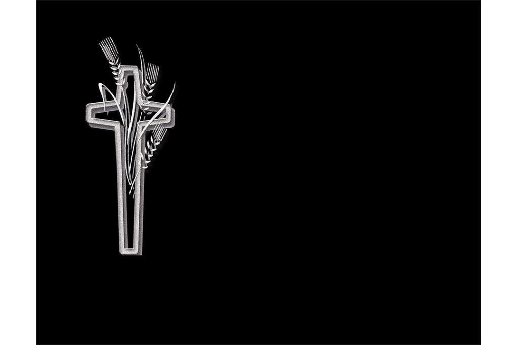 Cruz con espigas porcelánico blanco y negro
