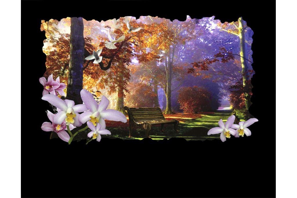 Paisaje con orquídeas y árboles en porcelánico color incrustado gran formato