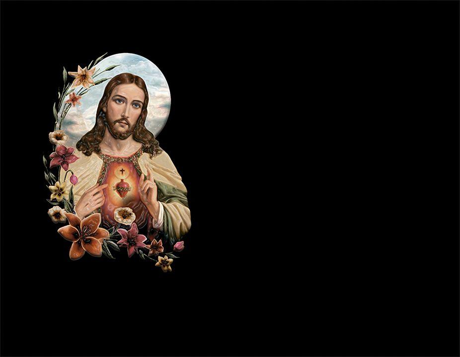 Corazón de Jesús en porcelánico color con volumen