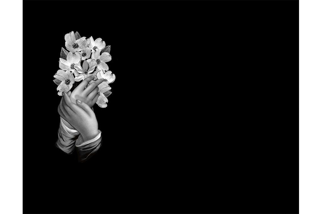 Manos con flores láser