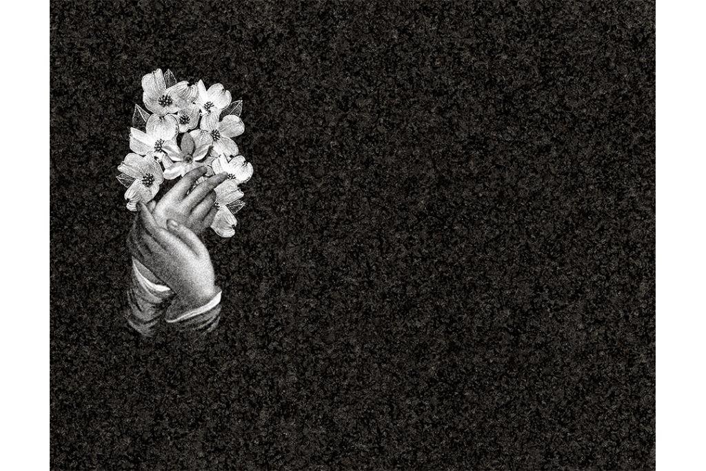 Manos con flores porcelánico blanco y negro