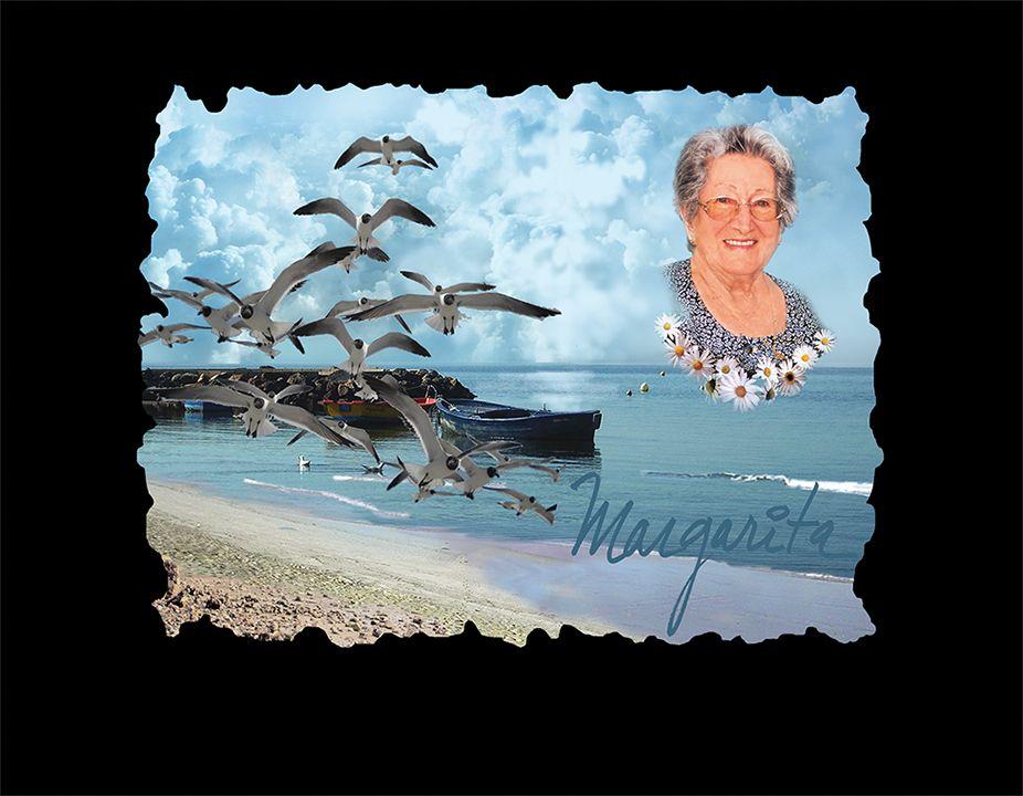 Paisaje con foto, mar y pájaros en porcelánico color incrustado gran formato