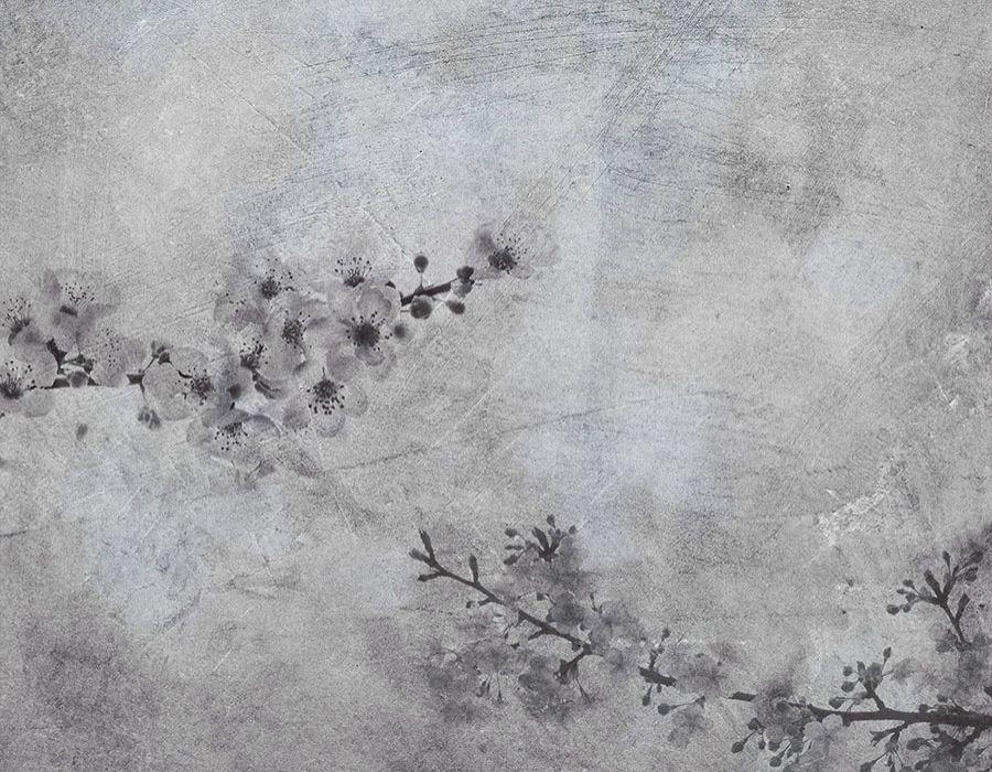 Fondo ramas de almendro en flor en blanco y negro