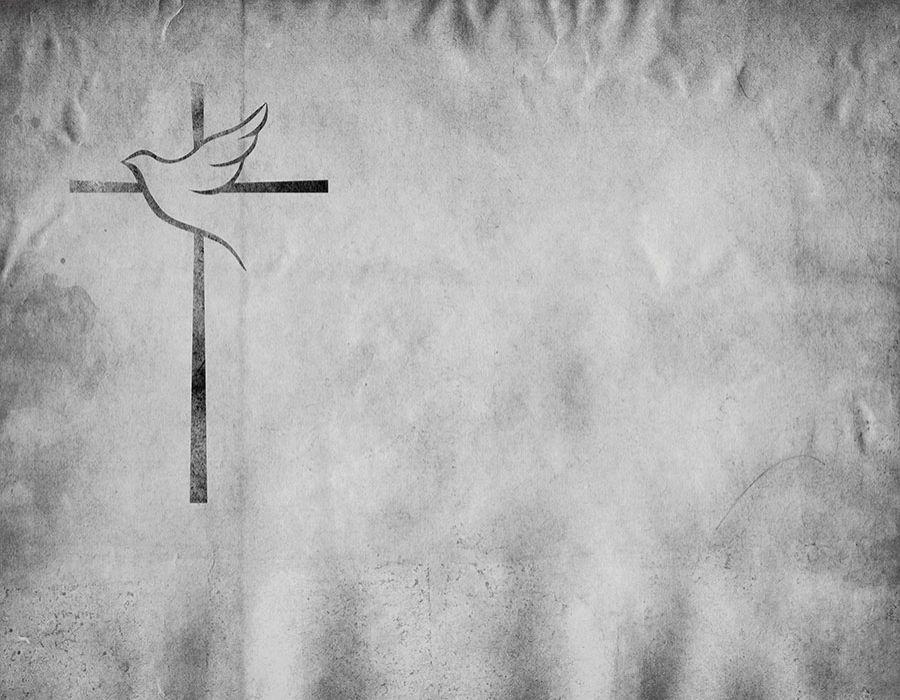 Fondo imitación textura en blanco y negro con cruz y paloma