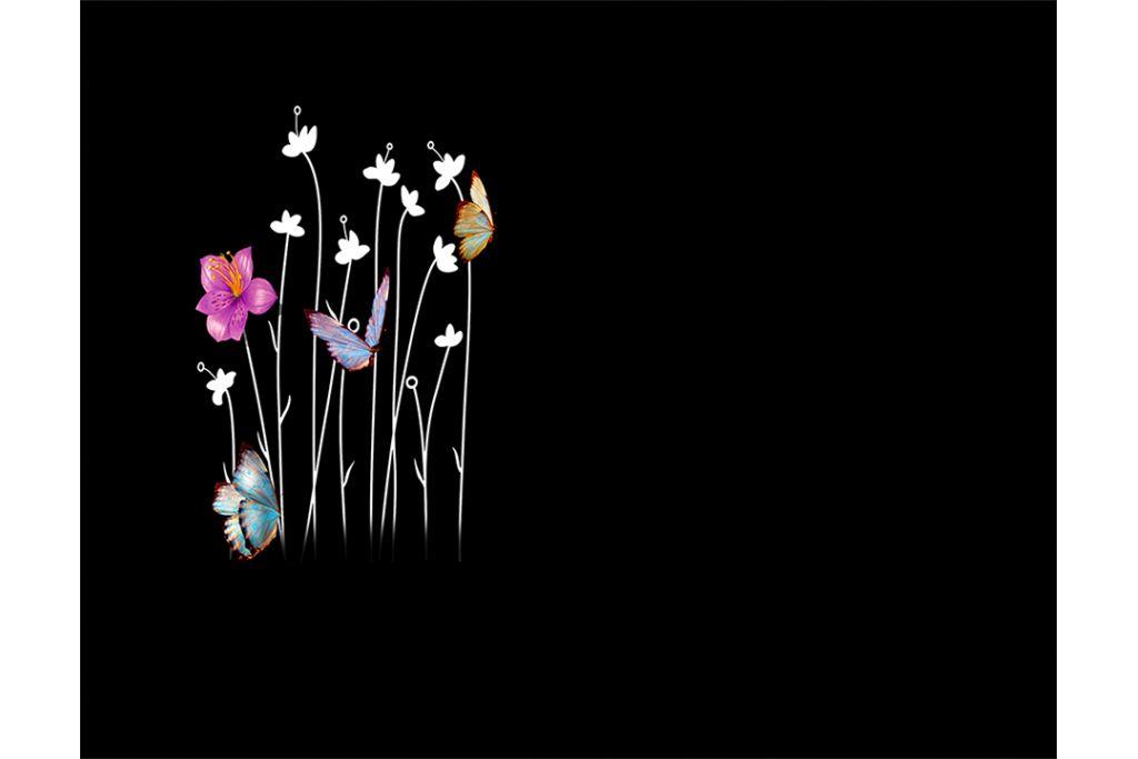Flores y mariposas en láser con porcelánico color incrustado